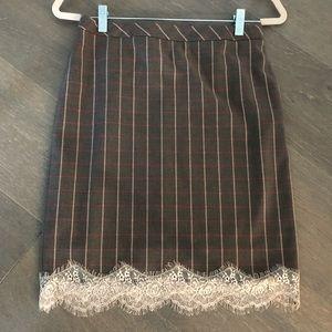 Chelsea28 plaid lace trim skirt